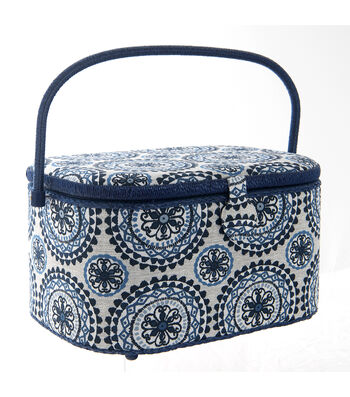 Extra Large Oval Sewing Basket-Blue Medallion