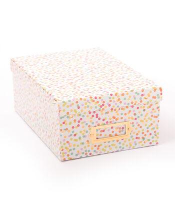 DCWV Photo Storage Box-Confetti With Gold Foil