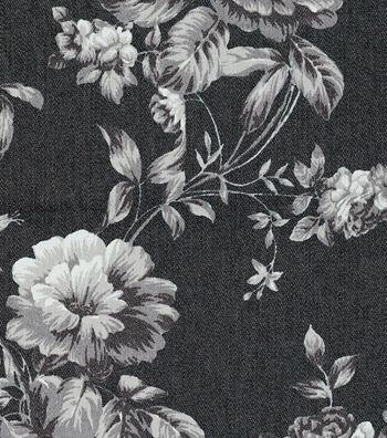 "Bottomweight 7oz Stretch Denim Fabric 57""-Floral Printed"