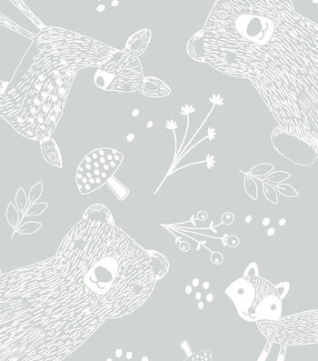Nursery Flannel Fabric 42''-Forest Outline