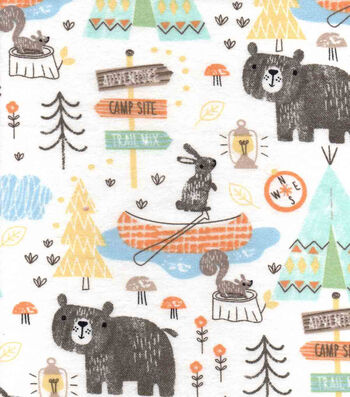 """Snuggle Flannel Fabric 42""""-Camping Mix"""