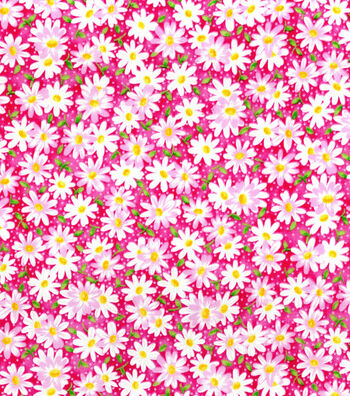 "Keepsake Calico™ Cotton Fabric 44""-Packed Daisy Pink"