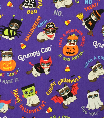 "Halloween Cotton Fabric 44""-Grumpy Cat Costumes"