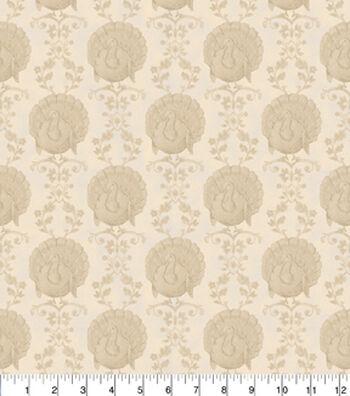 "Harvest Cotton Fabric 43""-Tonal Turkeys"