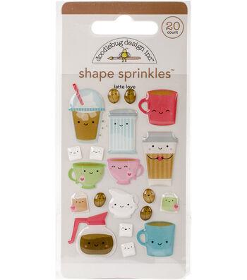 Sprinkles Adhesive Glossy Enamel Shapes-Cream & Sugar Latte Love