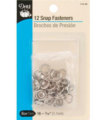 "Dritz Snap Fasteners 7/16"" 12/Pkg-Nickel"
