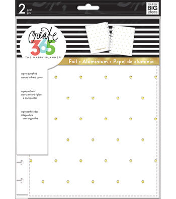 The Happy Planner Classic Snap-In Hard Cover Planner-White & Gold Dots