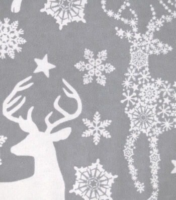 "Snuggle Flannel Fabric 42""-Snowflake Deer Gray"