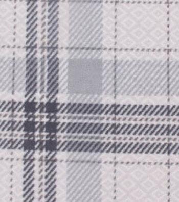 "3 Yard Pre-Cut Anti-Pill Fleece Fabric 59""-Patterned Plaid Gray"
