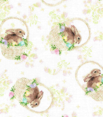 Easter Cotton Fabric 43''-Bunny in Basket