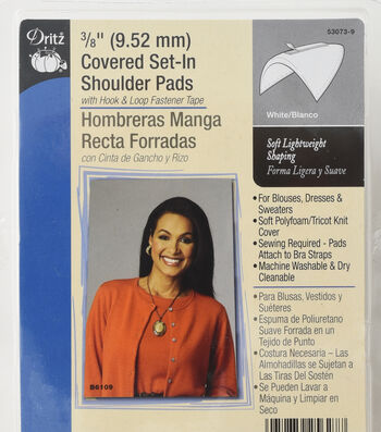 "Dritz 0.38"" Covered Set In Shoulder Pads White"