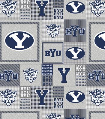 "Brigham Young University Cougars Fleece Fabric 58""-Gray Block"