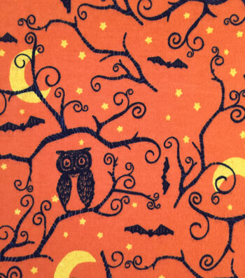 "Doodles Halloween Interlock Cotton Fabric 57""-Spooky Owl Orange"