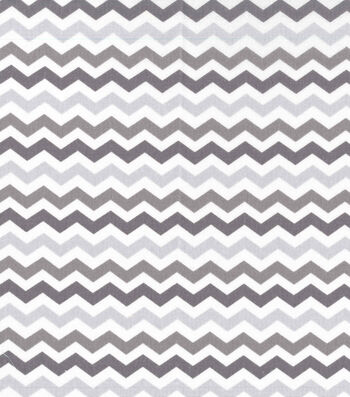 "Nursery Cotton Fabric 43""-Multi Grey Chevron"