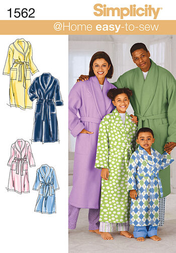Simplicity Pattern 1562A Adult & Children's Robes-Size XS-L/XS-XL