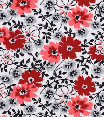 """Snuggle Flannel Fabric 42""""-Red Gray Black Floral"""