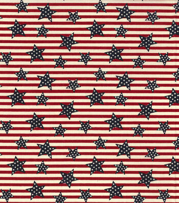 "Patriotic Cotton Fabric 44""-Tossed Stars On Stripes"