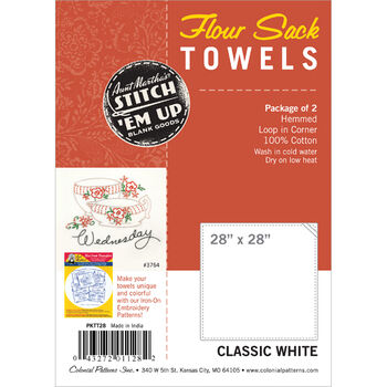 "Stitch 'Em Up Flour Sack Towels 28""X28"" 2/Pkg-White"