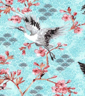"Asian Inspired Cotton Fabric 43""-Cherry Blossom Cranes"