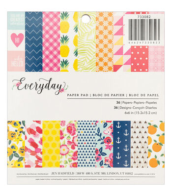 Pebbles Jen Hadfield Everyday 36 Pack 6''x6'' Single-Sided Paper Pad