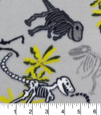 """3 Yard Pre-Cut Anti-Pill Fleece Fabric 59""""-Dino Green On Gray"""