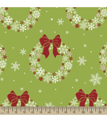 Christmas Print Fabric-Snowflake Wreaths