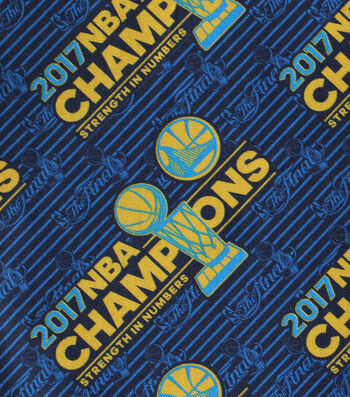 "Golden State Warriors Cotton Fabric 44""-Logo Tossed"