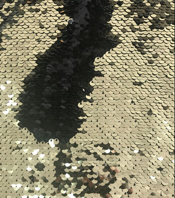 "Reversible Sequin Fabric 53""-Black & Gold"