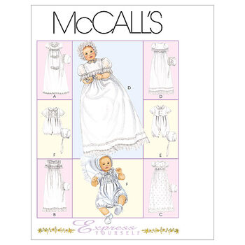 McCall's Pattern M6221 Infants' Christening Gown & Accessories