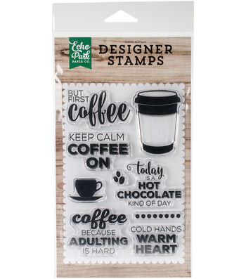 "Echo Park Stamps 4""X6""-But First Coffee"