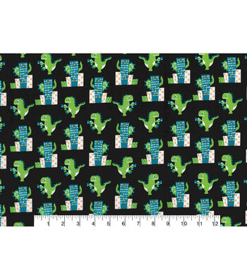 "Novelty Cotton Fabric 43""-Dinosaur in the City"
