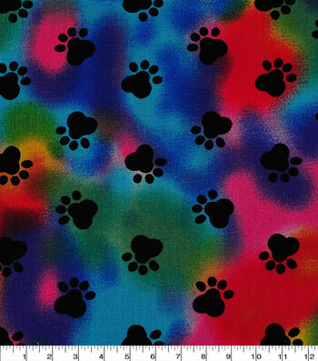 Novelty Cotton Fabric 44''-Paw Print on Tie Dye