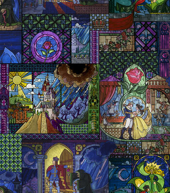 """Disney Beauty & The Beast Poly Spandex Fabric 60""""-Stained Glass"""