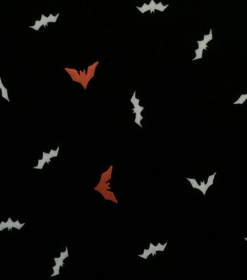 "Doodles Halloween Interlock Cotton Fabric 57""-Foiled Bats"