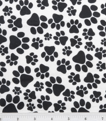 """Snuggle Flannel Fabric 42""""-Black Paws"""