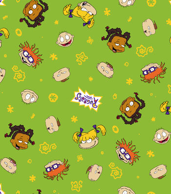 """Nickelodeon Rugrats Flannel Fabric 42""""-Character Toss"""