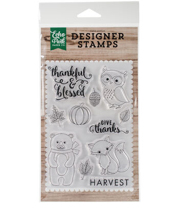 "Echo Park Stamps 4""X6""-Thankful & Blessed"