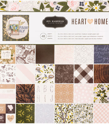 "Pebbles Single-Sided Paper Pad 12""X12""-Jen Hadfield Heart Of Home"