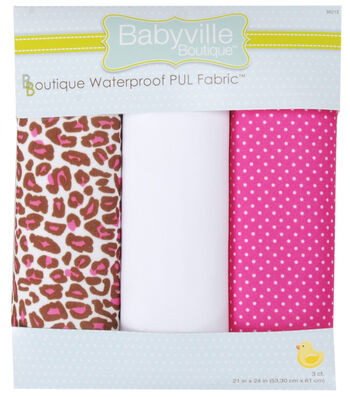 "Babyville PUL Fabric 3 pack 21"" x 24""-Cheetah & Pink"
