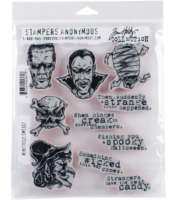 Stampers Anonymous® Tim Holtz® 10 pk Cling Stamps-Monstrous