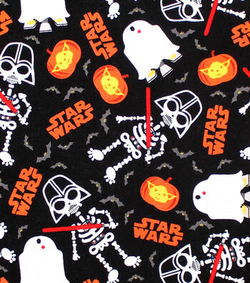 Star Wars Halloween Cotton Fabric 44''-Glow In The Dark Darth Vader
