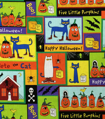 "Halloween Cotton Fabric 44""-Pete The Cat Halloween Patch"