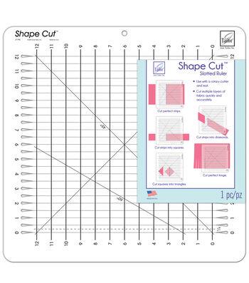 June Tailor Shape Cut 12''x12'' Slotted Ruler