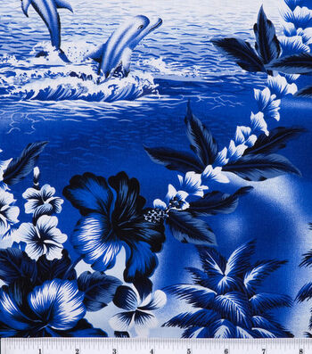 """Tropical Shirting Fabric 43""""-Dolphin"""