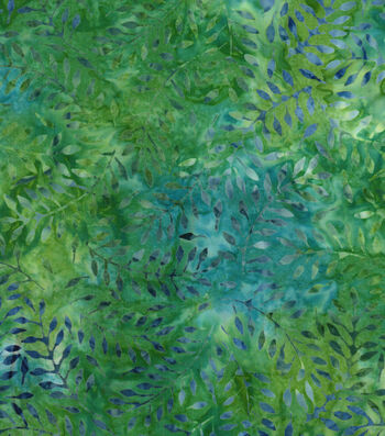 "Legacy Studio™ Batik Cotton Fabric 43""-Green Floral Leaf"