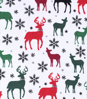 "Snuggle Flannel Fabric 42""-Multi Deer With Bow Tie"