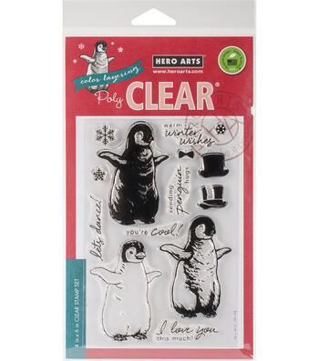 Hero Arts® 14 pk Clear Stamps 4''x6''-Color Layering Baby Penguin