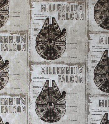 "Star Wars™: The Last Jedi Cotton Fabric 44""-Millennium Falcon Blueprint"