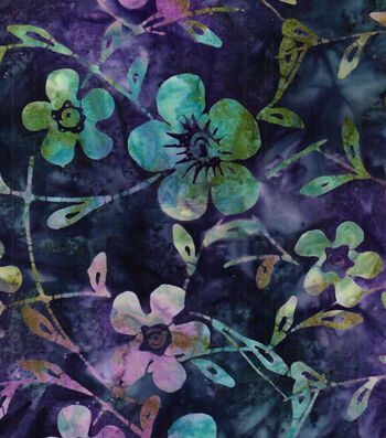 "Legacy Studio™ Batik Cotton Fabric 43""-Purple Blue Floral"