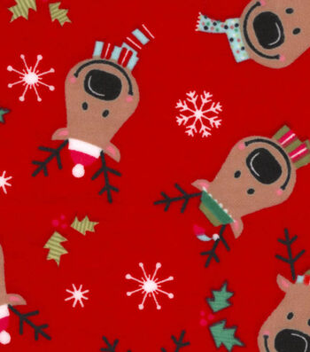 """Snuggle Flannel Fabric 42""""-Reindeer On Red Flannel"""